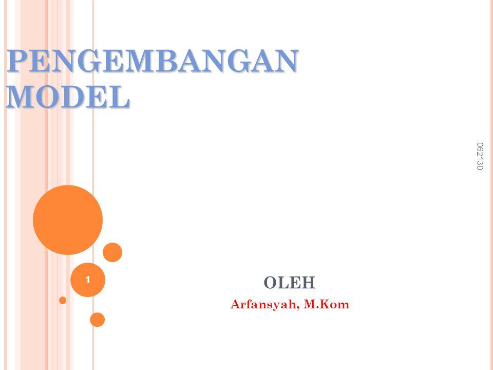 PENGEMBANGAN MODEL OLEH Arfansyah, M.Kom 062130 1