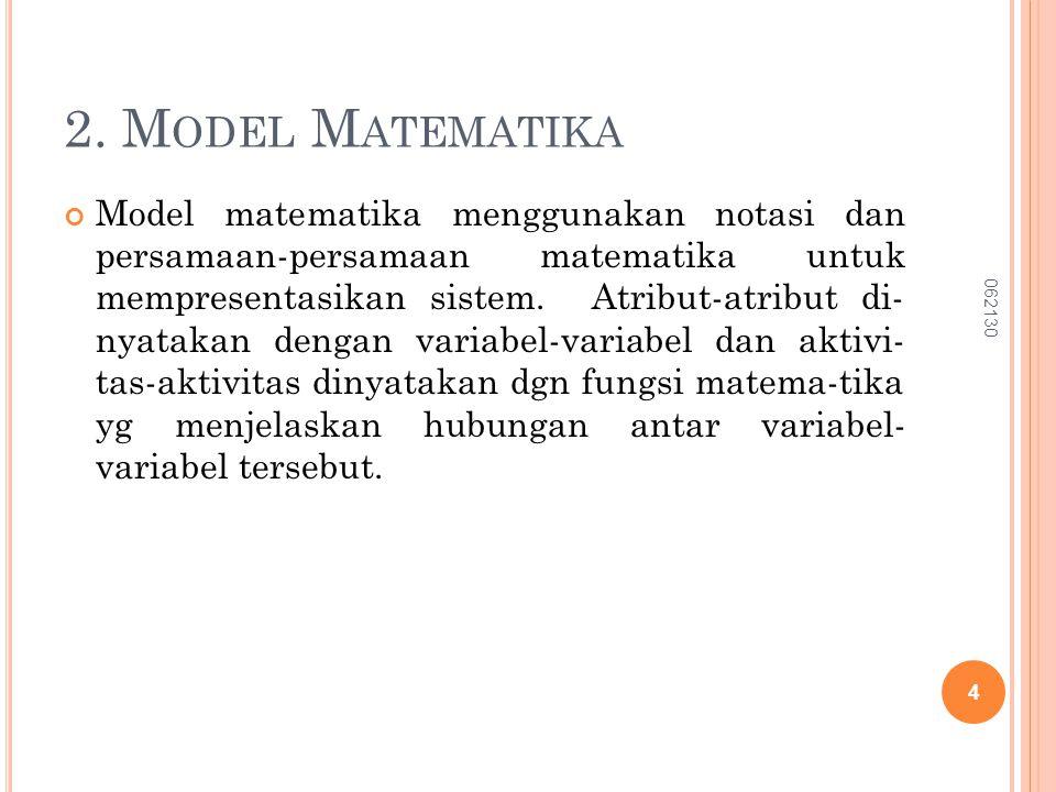 2. M ODEL M ATEMATIKA Model matematika menggunakan notasi dan persamaan-persamaan matematika untuk mempresentasikan sistem. Atribut-atribut di- nyatak