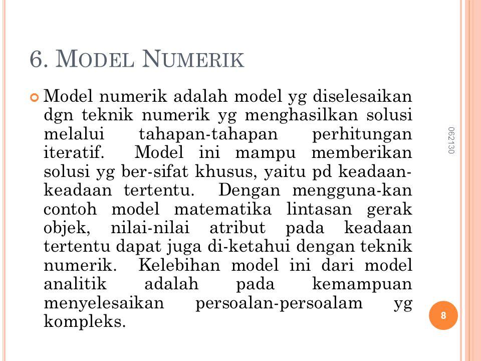 6. M ODEL N UMERIK Model numerik adalah model yg diselesaikan dgn teknik numerik yg menghasilkan solusi melalui tahapan-tahapan perhitungan iteratif.