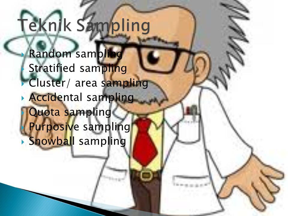  Random sampling  Stratified sampling  Cluster/ area sampling  Accidental sampling  Quota sampling  Purposive sampling  Snowball sampling
