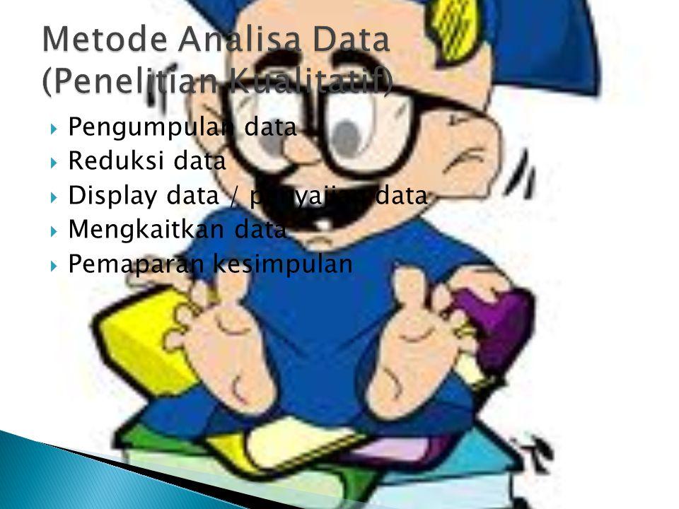 Pengumpulan data  Reduksi data  Display data / penyajian data  Mengkaitkan data  Pemaparan kesimpulan