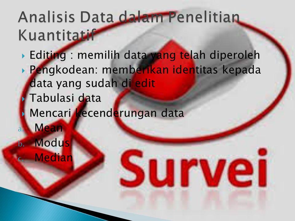  Editing : memilih data yang telah diperoleh  Pengkodean: memberikan identitas kepada data yang sudah di edit  Tabulasi data  Mencari kecenderunga
