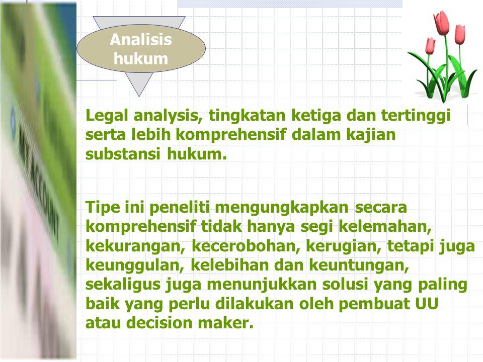 Gradasi pendekatan analisis penelitian normatif Penjelajahan hukum Tinjauan Hukum Legal eksplorating, Tingkatan awal dan sederhana yang digunakan peneliti dalam kajian substansi hukum.
