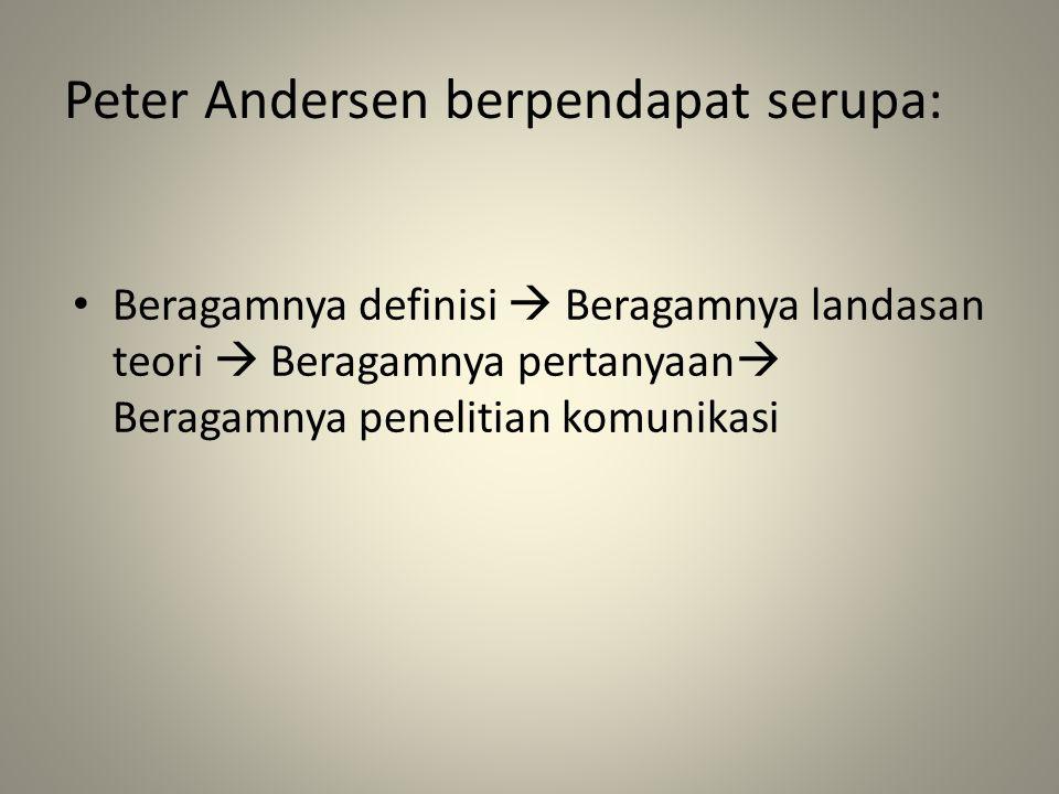 Peter Andersen berpendapat serupa: Beragamnya definisi  Beragamnya landasan teori  Beragamnya pertanyaan  Beragamnya penelitian komunikasi