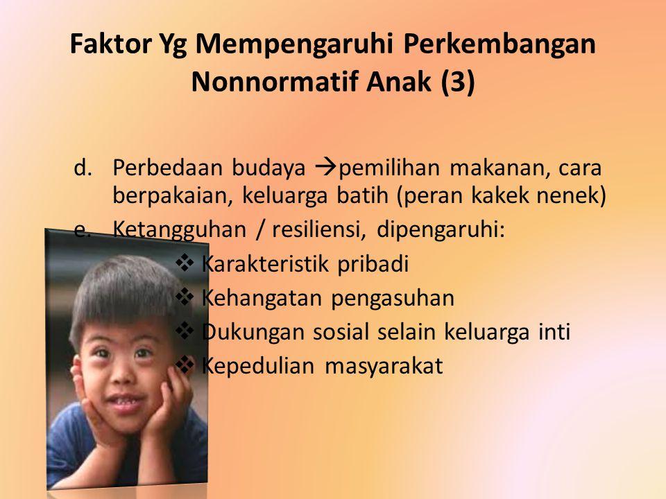Faktor Yg Mempengaruhi Perkembangan Nonnormatif Anak (3) d.Perbedaan budaya  pemilihan makanan, cara berpakaian, keluarga batih (peran kakek nenek) e