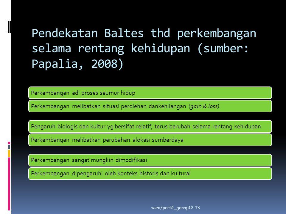 Pendekatan Baltes thd perkembangan selama rentang kehidupan (sumber: Papalia, 2008) Perkembangan adl proses seumur hidupPerkembangan melibatkan situas