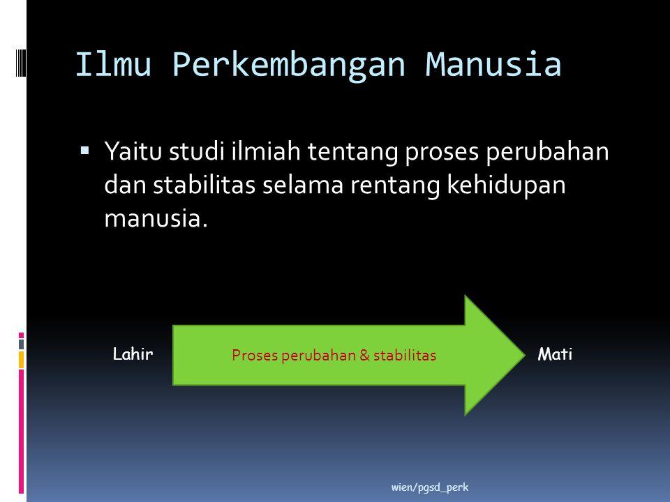 Ilmu Perkembangan Manusia  Yaitu studi ilmiah tentang proses perubahan dan stabilitas selama rentang kehidupan manusia. wien/pgsd_perk LahirMati Pros