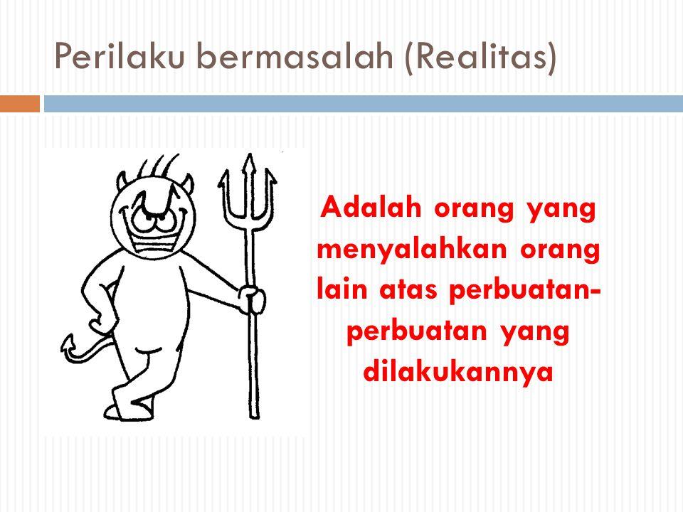 Perilaku bermasalah (Realitas) Adalah orang yang menyalahkan orang lain atas perbuatan- perbuatan yang dilakukannya