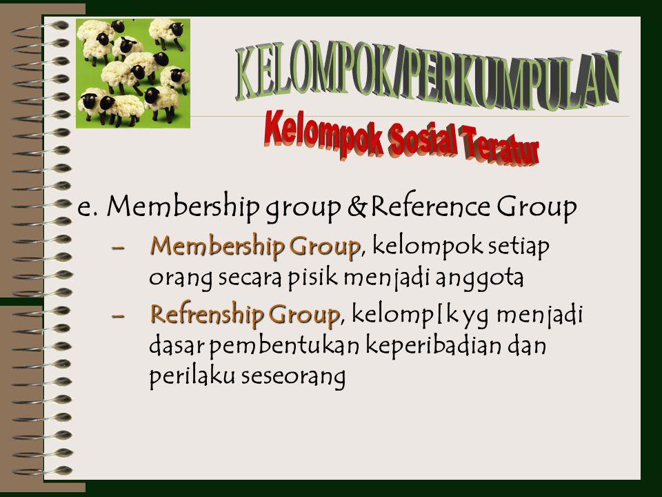 d. Formal & informal group FormalFormal Group Group, punya peraturan yg sengaja & tegas untuk meng-artur anggotanya, contoh: sekolah InformalInformal