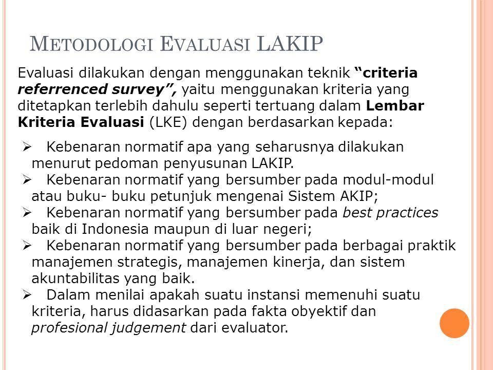 """M ETODOLOGI E VALUASI LAKIP Evaluasi dilakukan dengan menggunakan teknik """"criteria referrenced survey"""", yaitu menggunakan kriteria yang ditetapkan ter"""