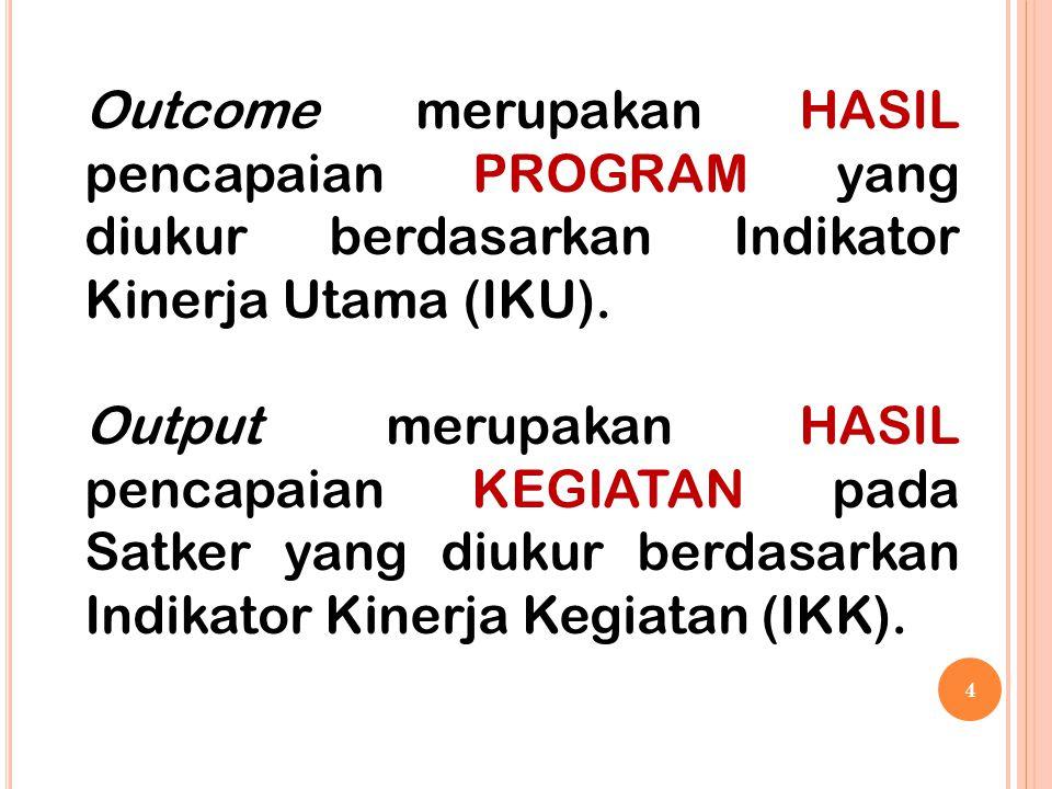 4 Outcome merupakan HASIL pencapaian PROGRAM yang diukur berdasarkan Indikator Kinerja Utama (IKU). Output merupakan HASIL pencapaian KEGIATAN pada Sa