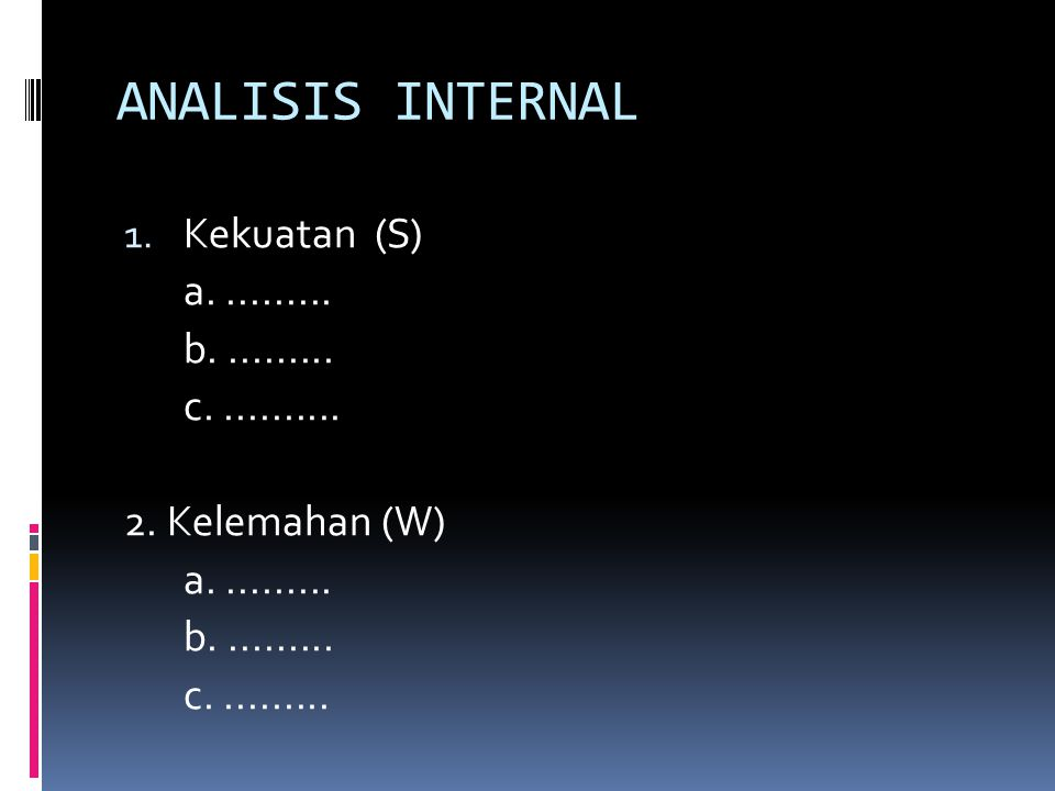 ANALISIS INTERNAL 1. Kekuatan (S) a.......... b..........