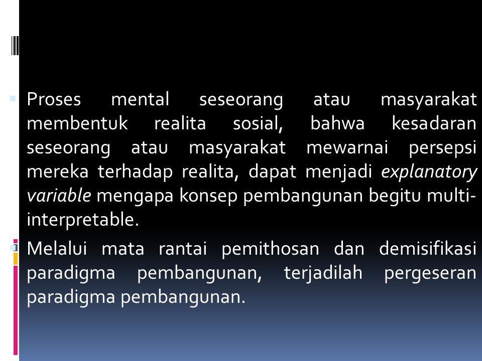 PERGESERAN PARADIGMA PEMBANGUNAN  Proses mental seseorang atau masyarakat membentuk realita sosial, bahwa kesadaran seseorang atau masyarakat mewarna