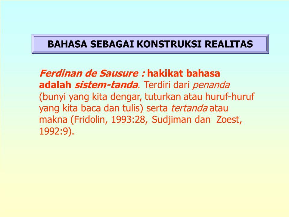 BAHASA SEBAGAI KONSTRUKSI REALITAS Ferdinan de Sausure : hakikat bahasa adalah sistem-tanda.