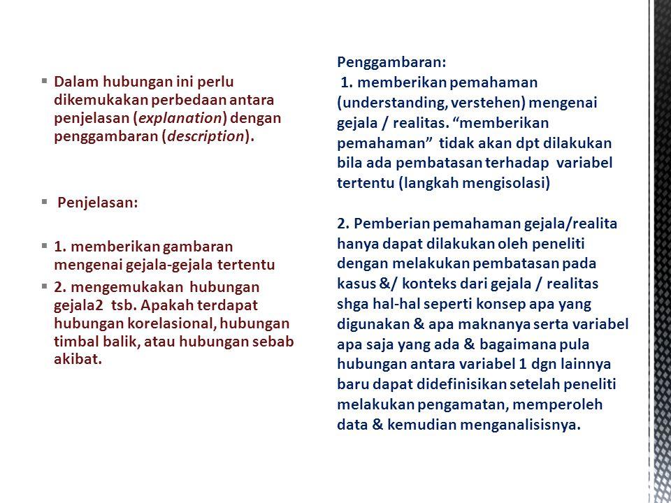  Dalam hubungan ini perlu dikemukakan perbedaan antara penjelasan (explanation) dengan penggambaran (description).
