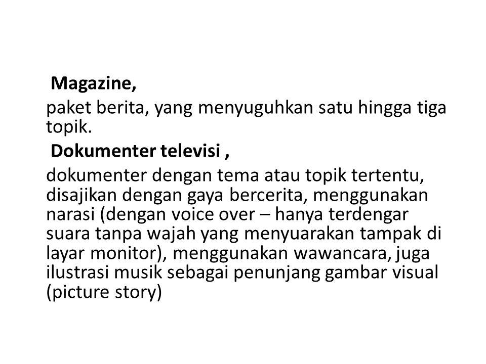 Magazine, paket berita, yang menyuguhkan satu hingga tiga topik. Dokumenter televisi, dokumenter dengan tema atau topik tertentu, disajikan dengan gay