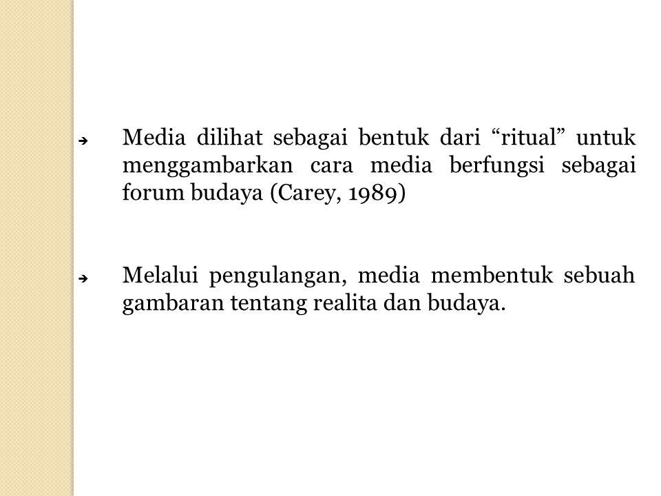 """ Media dilihat sebagai bentuk dari """"ritual"""" untuk menggambarkan cara media berfungsi sebagai forum budaya (Carey, 1989)  Melalui pengulangan, media"""