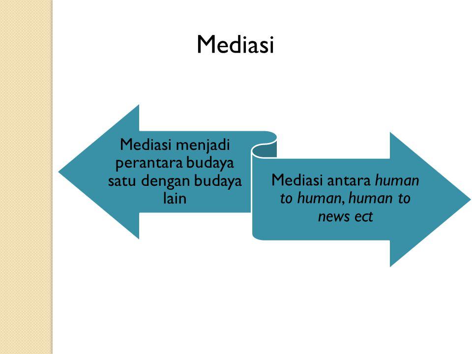 Mediasi Mediasi menjadi perantara budaya satu dengan budaya lain Mediasi antara human to human, human to news ect