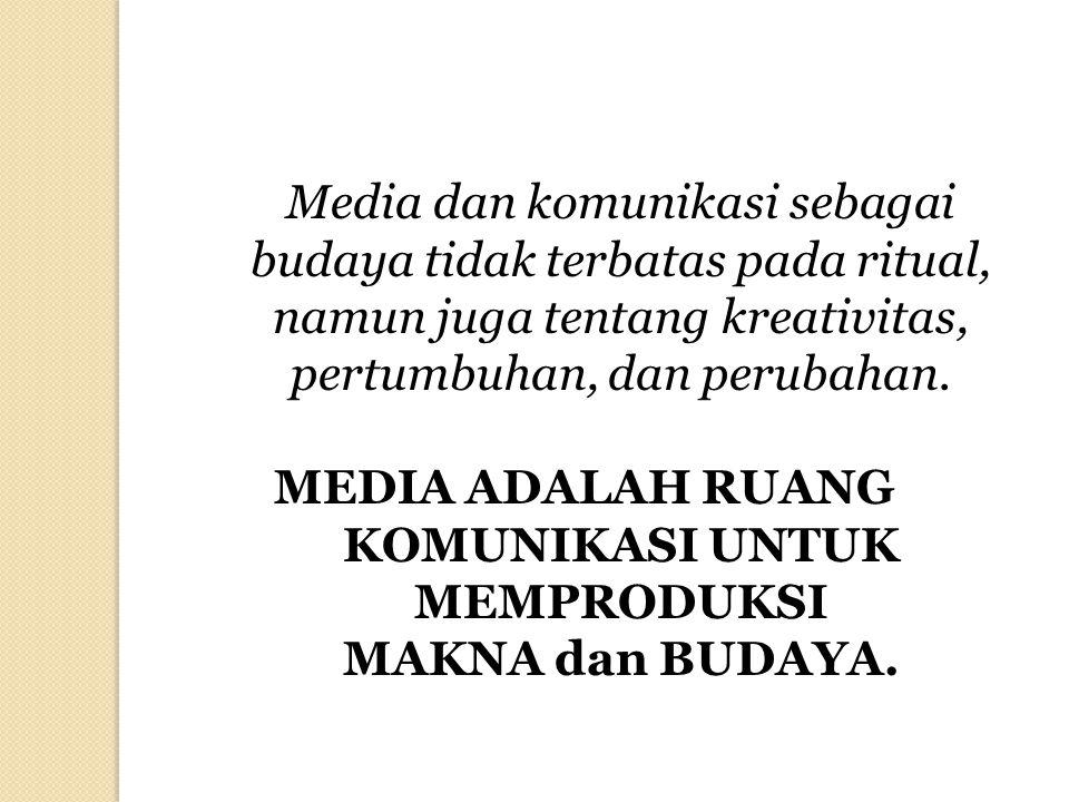 Media dan komunikasi sebagai budaya tidak terbatas pada ritual, namun juga tentang kreativitas, pertumbuhan, dan perubahan. MEDIA ADALAH RUANG KOMUNIK