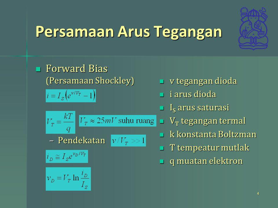 Persamaan Arus Tegangan Forward Bias (Persamaan Shockley) Forward Bias (Persamaan Shockley) –Pendekatan v tegangan dioda v tegangan dioda i arus dioda i arus dioda I S arus saturasi I S arus saturasi V T tegangan termal V T tegangan termal k konstanta Boltzman k konstanta Boltzman T tempeatur mutlak T tempeatur mutlak q muatan elektron q muatan elektron 4