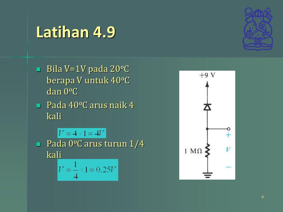 Latihan 4.9 Bila V=1V pada 20 o C berapa V untuk 40 o C dan 0 o C Bila V=1V pada 20 o C berapa V untuk 40 o C dan 0 o C Pada 40 o C arus naik 4 kali P