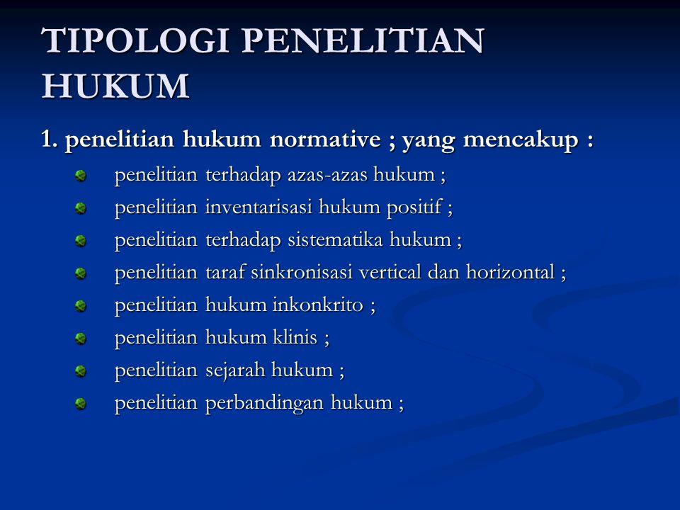 TIPOLOGI PENELITIAN HUKUM 1.