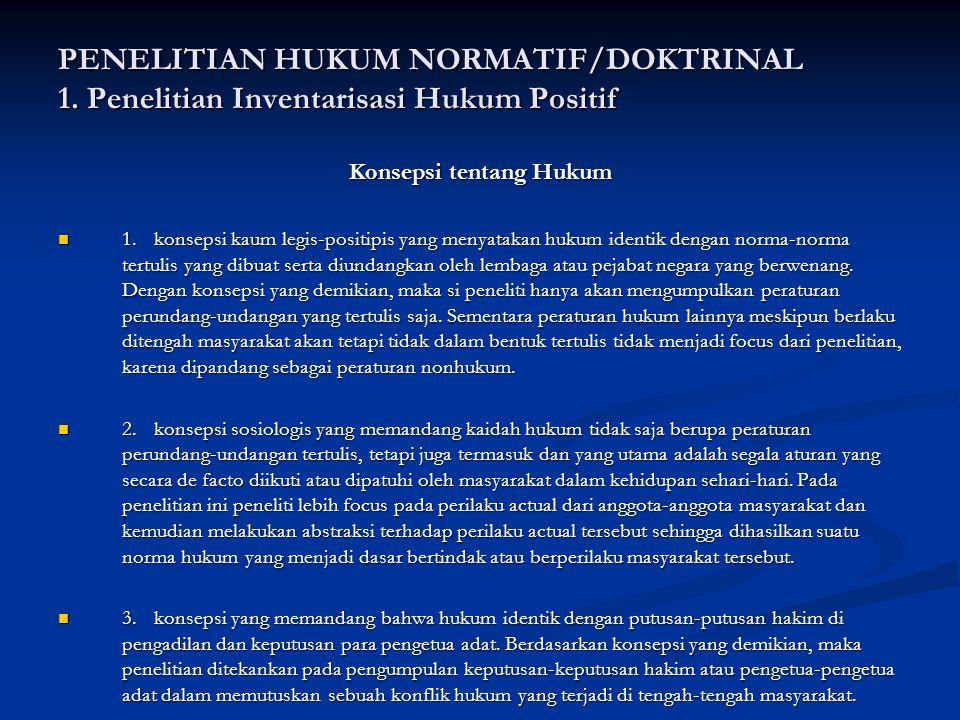 PENELITIAN HUKUM NORMATIF/DOKTRINAL 1.