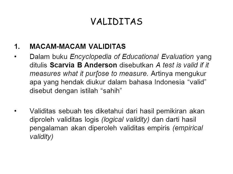 VALIDITAS 1.MACAM-MACAM VALIDITAS Dalam buku Encyclopedia of Educational Evaluation yang ditulis Scarvia B Anderson disebutkan A test is valid if it m