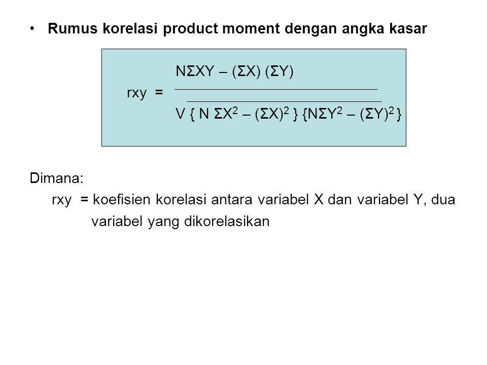 Rumus korelasi product moment dengan angka kasar NΣXY – (ΣX) (ΣY) rxy = V { N ΣX 2 – (ΣX) 2 } {NΣY 2 – (ΣY) 2 } Dimana: rxy = koefisien korelasi antara variabel X dan variabel Y, dua variabel yang dikorelasikan