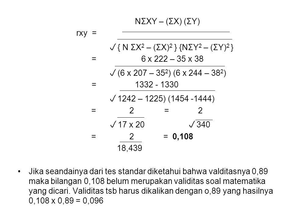 NΣXY – (ΣX) (ΣY) rxy =  { N ΣX 2 – (ΣX) 2 } {NΣY 2 – (ΣY) 2 } = 6 x 222 – 35 x 38  (6 x 207 – 35 2 ) (6 x 244 – 38 2 ) = 1332 - 1330  1242 – 1225) (1454 -1444)  = 2= 2   17 x 20  340  = 2 = 0,108 18,439 Jika seandainya dari tes standar diketahui bahwa valditasnya 0,89 maka bilangan 0,108 belum merupakan validitas soal matematika yang dicari.
