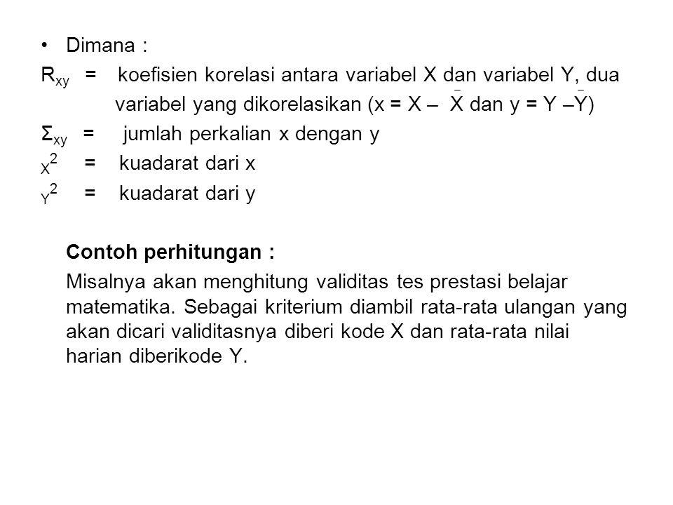Dimana : R xy = koefisien korelasi antara variabel X dan variabel Y, dua variabel yang dikorelasikan (x = X – X dan y = Y –Y) Σ xy = jumlah perkalian