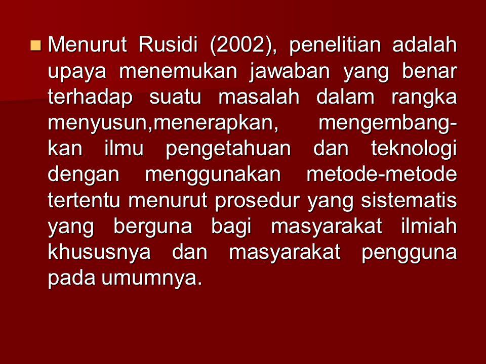 Menurut Rusidi (2002), penelitian adalah upaya menemukan jawaban yang benar terhadap suatu masalah dalam rangka menyusun,menerapkan, mengembang- kan i
