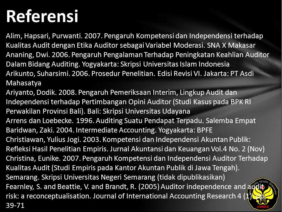 Referensi Alim, Hapsari, Purwanti. 2007.