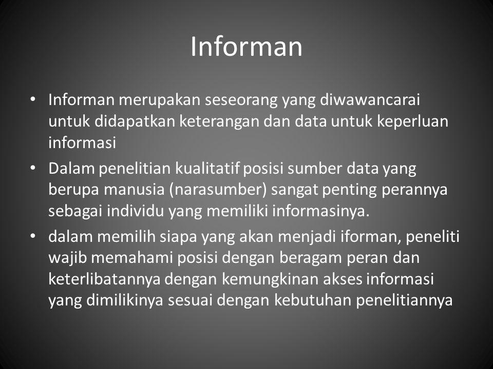 Informan Informan merupakan seseorang yang diwawancarai untuk didapatkan keterangan dan data untuk keperluan informasi Dalam penelitian kualitatif posisi sumber data yang berupa manusia (narasumber) sangat penting perannya sebagai individu yang memiliki informasinya.