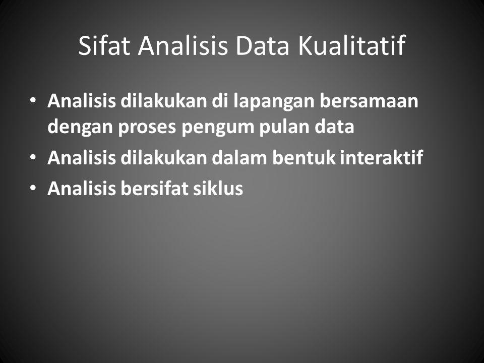 Sifat Analisis Data Kualitatif Analisis dilakukan di lapangan bersamaan dengan proses pengum pulan data Analisis dilakukan dalam bentuk interaktif Analisis bersifat siklus