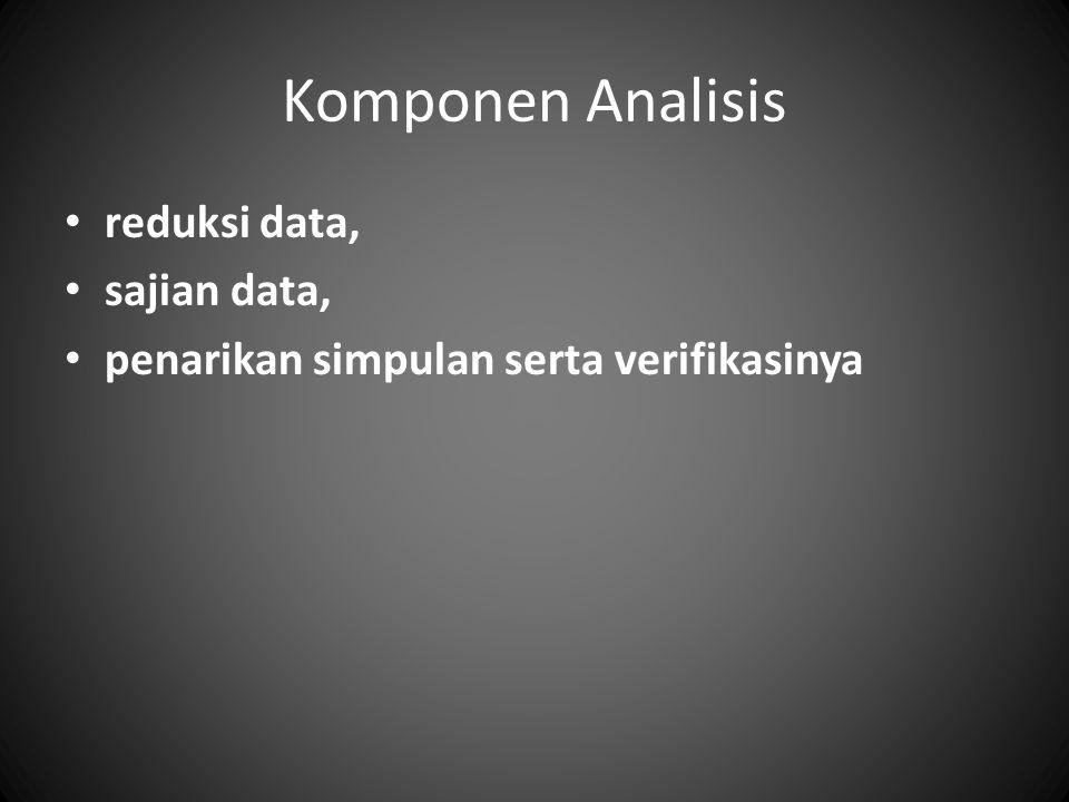 Komponen Analisis reduksi data, sajian data, penarikan simpulan serta verifikasinya