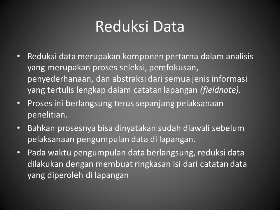 Reduksi Data Reduksi data merupakan komponen pertarna dalam analisis yang merupakan proses seleksi, pemfokusan, penyederhanaan, dan abstraksi dari semua jenis informasi yang tertulis lengkap dalam catatan lapangan (fieldnote).