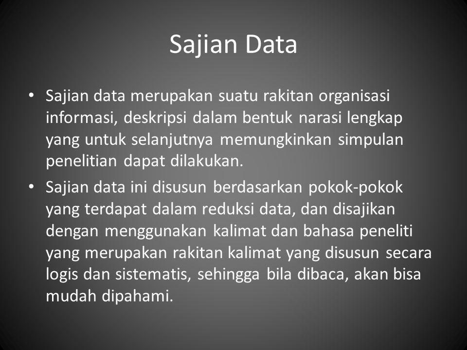 Sajian Data Sajian data merupakan suatu rakitan organisasi informasi, deskripsi dalam bentuk narasi lengkap yang untuk selanjutnya memungkinkan simpul