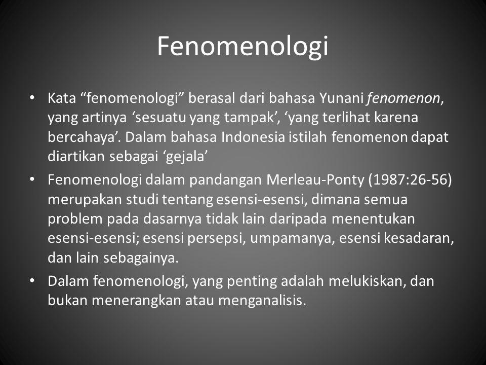 Fenomenologi Kata fenomenologi berasal dari bahasa Yunani fenomenon, yang artinya 'sesuatu yang tampak', 'yang terlihat karena bercahaya'.