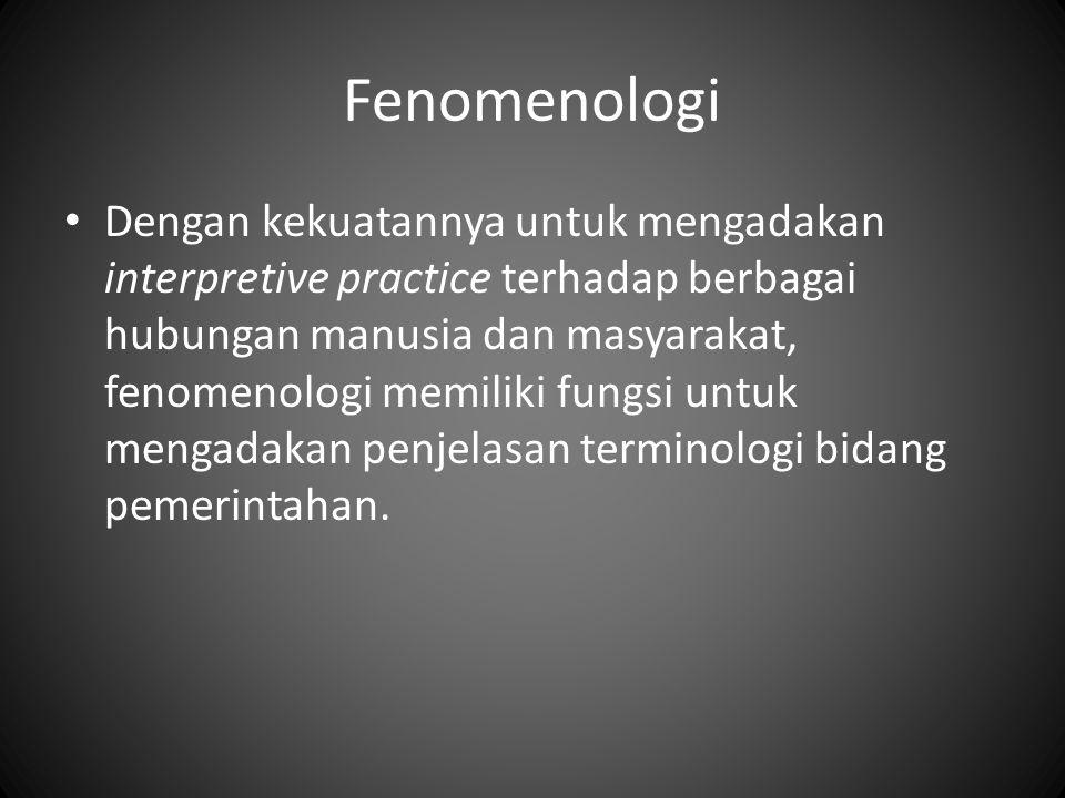 Fenomenologi Dengan kekuatannya untuk mengadakan interpretive practice terhadap berbagai hubungan manusia dan masyarakat, fenomenologi memiliki fungsi untuk mengadakan penjelasan terminologi bidang pemerintahan.