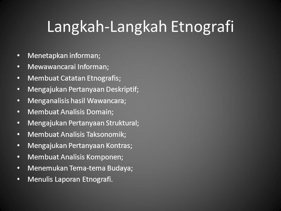 Langkah-Langkah Etnografi Menetapkan informan; Mewawancarai Informan; Membuat Catatan Etnografis; Mengajukan Pertanyaan Deskriptif; Menganalisis hasil