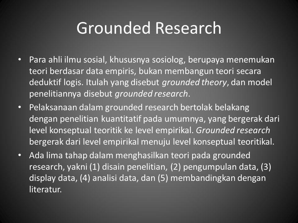 Grounded Research Para ahli ilmu sosial, khususnya sosiolog, berupaya menemukan teori berdasar data empiris, bukan membangun teori secara deduktif logis.