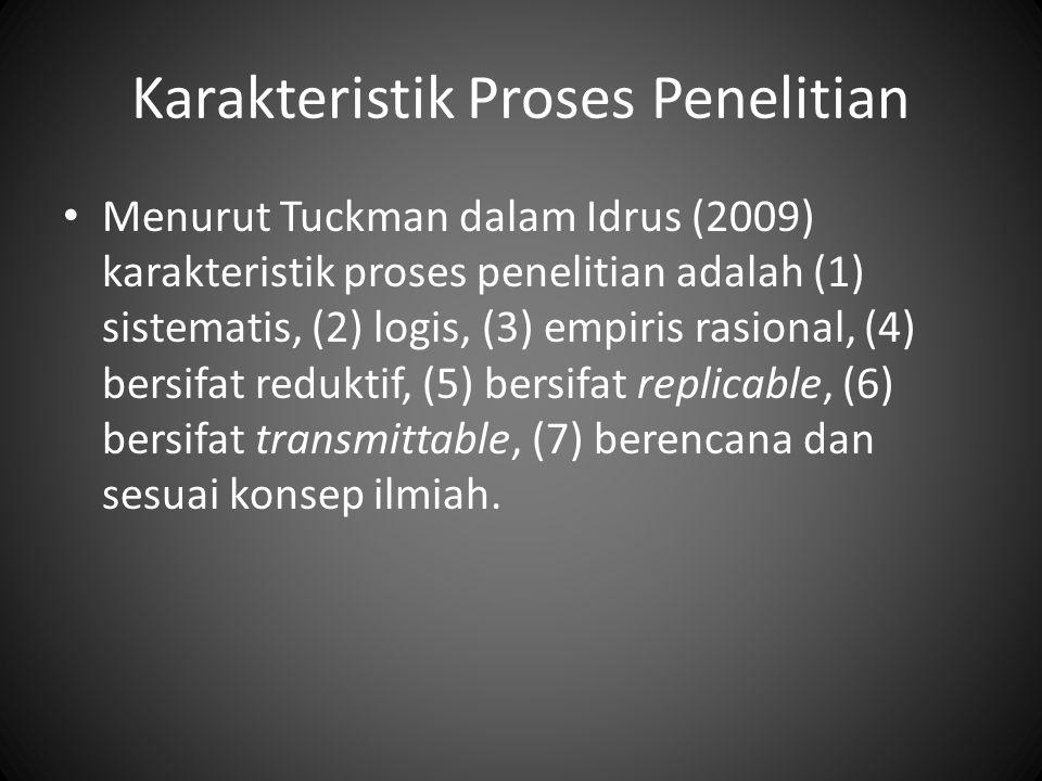 Karakteristik Proses Penelitian Menurut Tuckman dalam Idrus (2009) karakteristik proses penelitian adalah (1) sistematis, (2) logis, (3) empiris rasional, (4) bersifat reduktif, (5) bersifat replicable, (6) bersifat transmittable, (7) berencana dan sesuai konsep ilmiah.