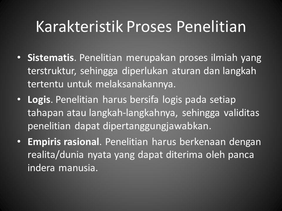 Karakteristik Proses Penelitian Sistematis. Penelitian merupakan proses ilmiah yang terstruktur, sehingga diperlukan aturan dan langkah tertentu untuk