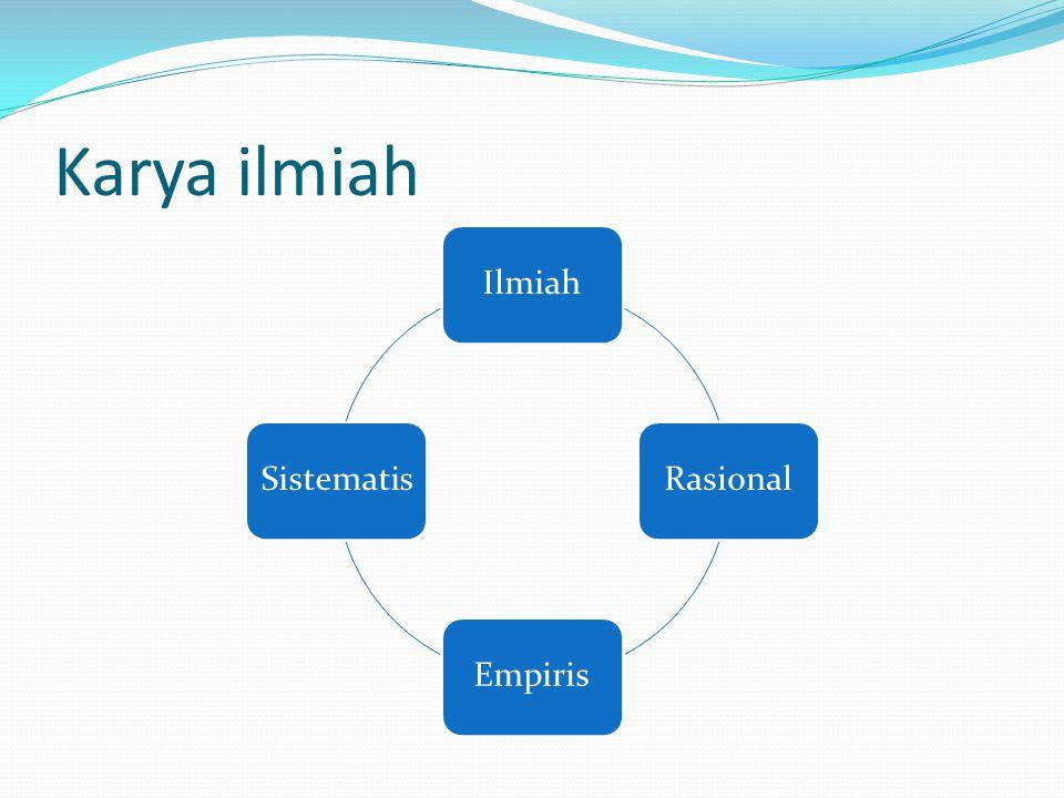 Karya ilmiah IlmiahRasionalEmpirisSistematis