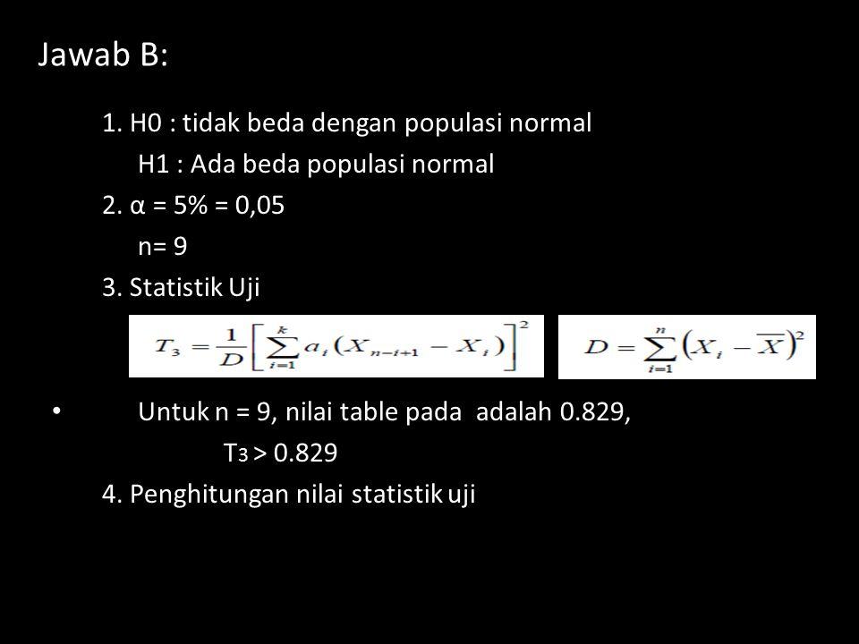 Jawab B: 1.H0 : tidak beda dengan populasi normal H1 : Ada beda populasi normal 2.