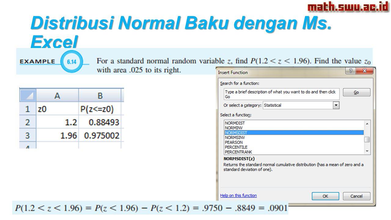 Distribusi Normal Baku dengan Ms. Excel