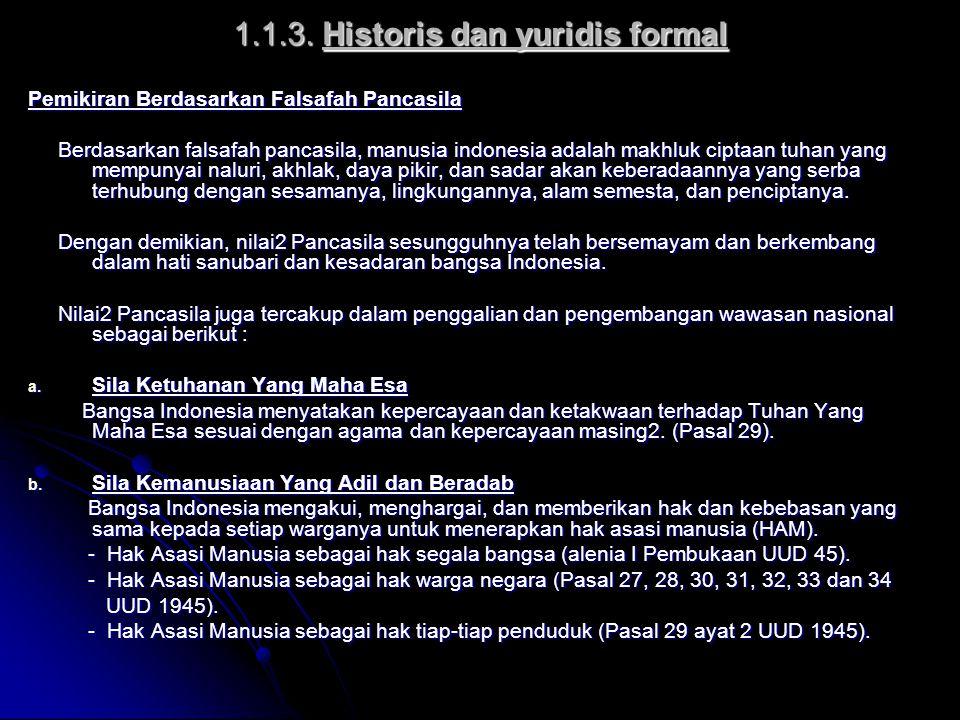 1.1.3. Historis dan yuridis formal Pemikiran Berdasarkan Falsafah Pancasila Berdasarkan falsafah pancasila, manusia indonesia adalah makhluk ciptaan t