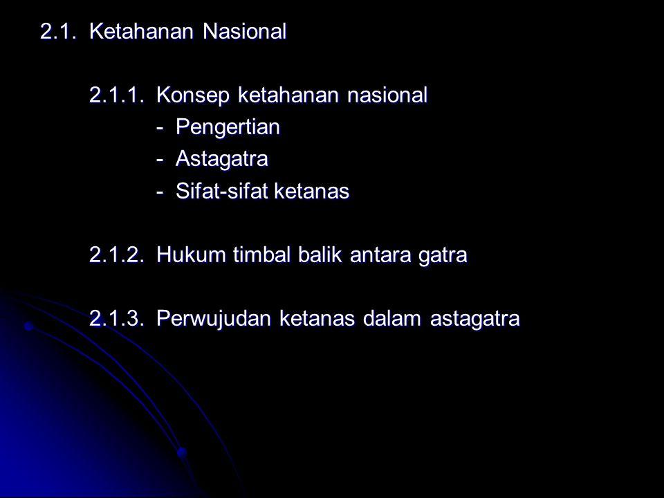 2.1. Ketahanan Nasional 2.1.1. Konsep ketahanan nasional 2.1.1. Konsep ketahanan nasional - Pengertian - Pengertian - Astagatra - Astagatra - Sifat-si