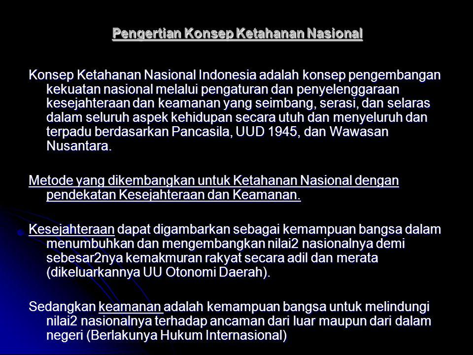 Pengertian Konsep Ketahanan Nasional Konsep Ketahanan Nasional Indonesia adalah konsep pengembangan kekuatan nasional melalui pengaturan dan penyeleng